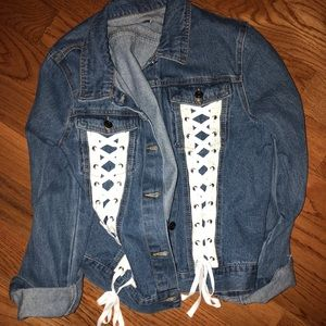 Jackets & Blazers - LF inspired denim lace up jacket NEVER WORN!